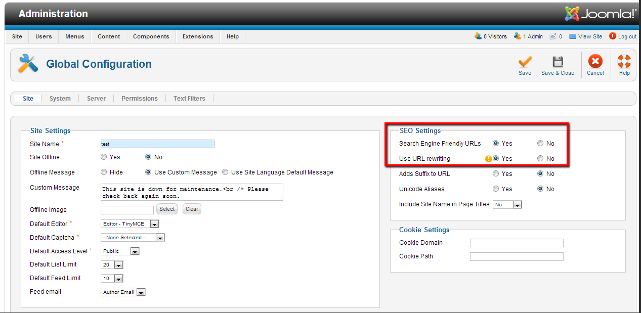 Go to Global Configuration to Preserve the SEO Look during Joomla Migration