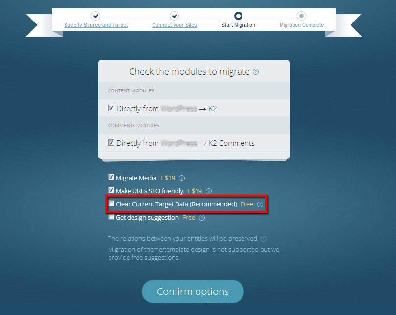 During Joomla Migration Choose the Option to Delete Your Data