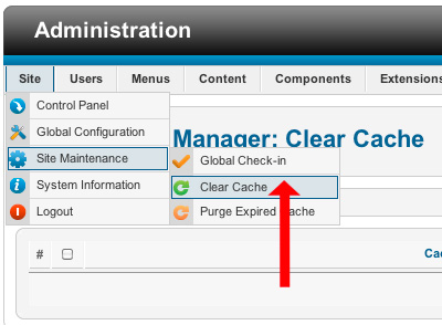 How to clear joomla cache
