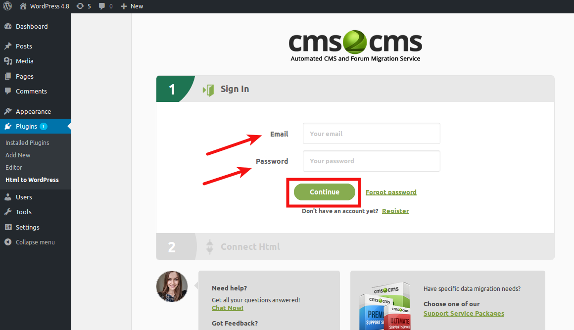 login-into-your-cms2cms-account