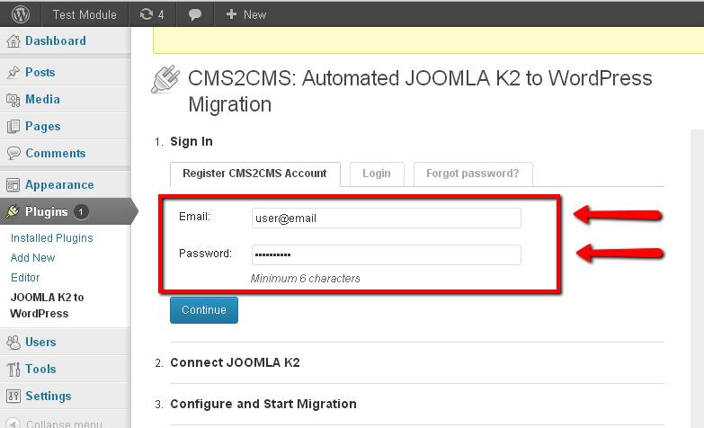 CMS2CMS account