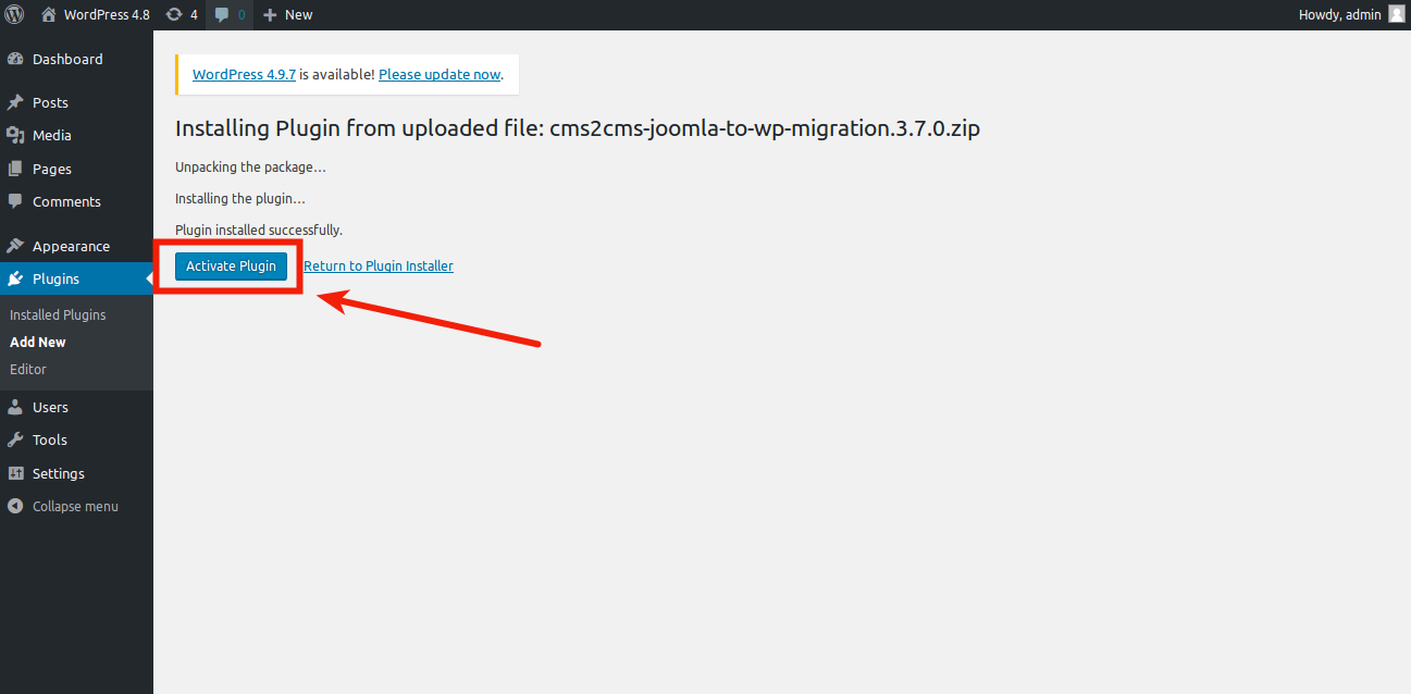 activate-joomla-to-wordpress-plugin