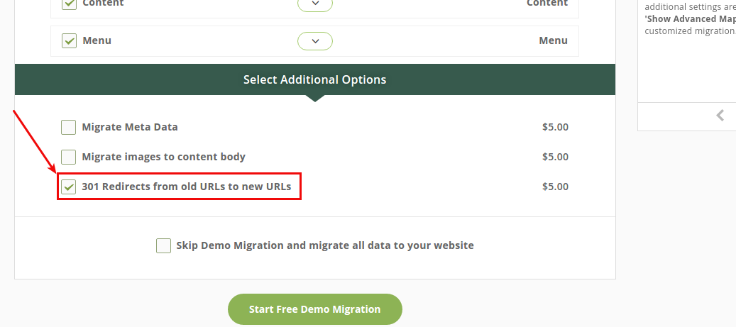 "After having installed one of these plugins on your new WordPress website, return to your Migration Wizard and choose ""301 Redirects from old URLs to new URLs"" option and proceed with the migration."