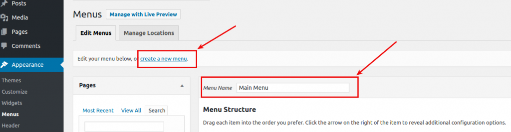 How to display menus on my WordPress website after the migration?