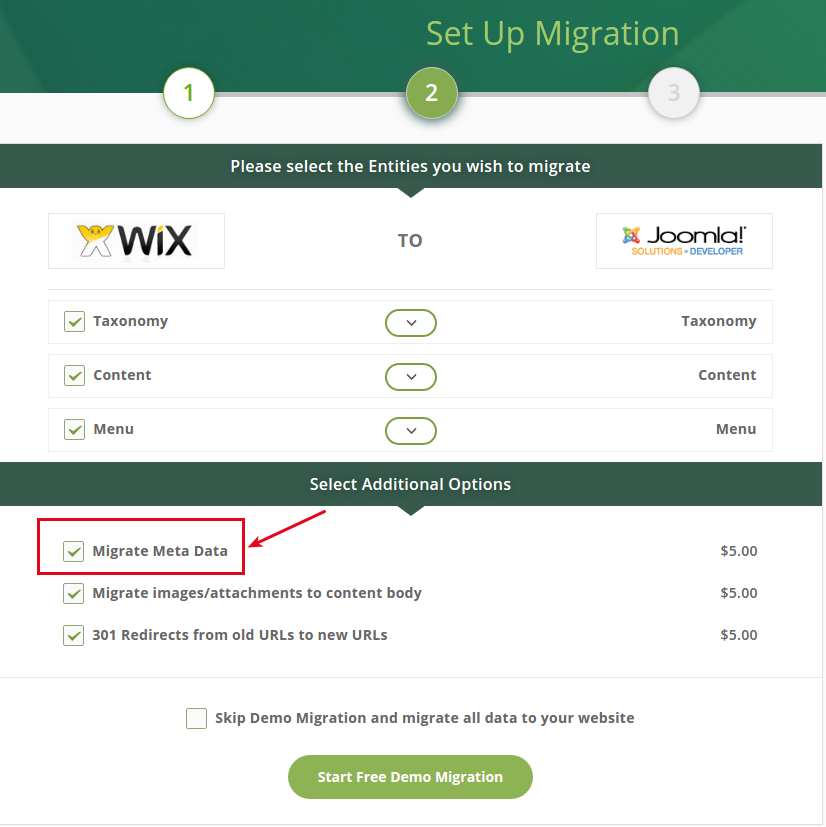 """How does """"Migrate Meta Data"""" additional option work?"""