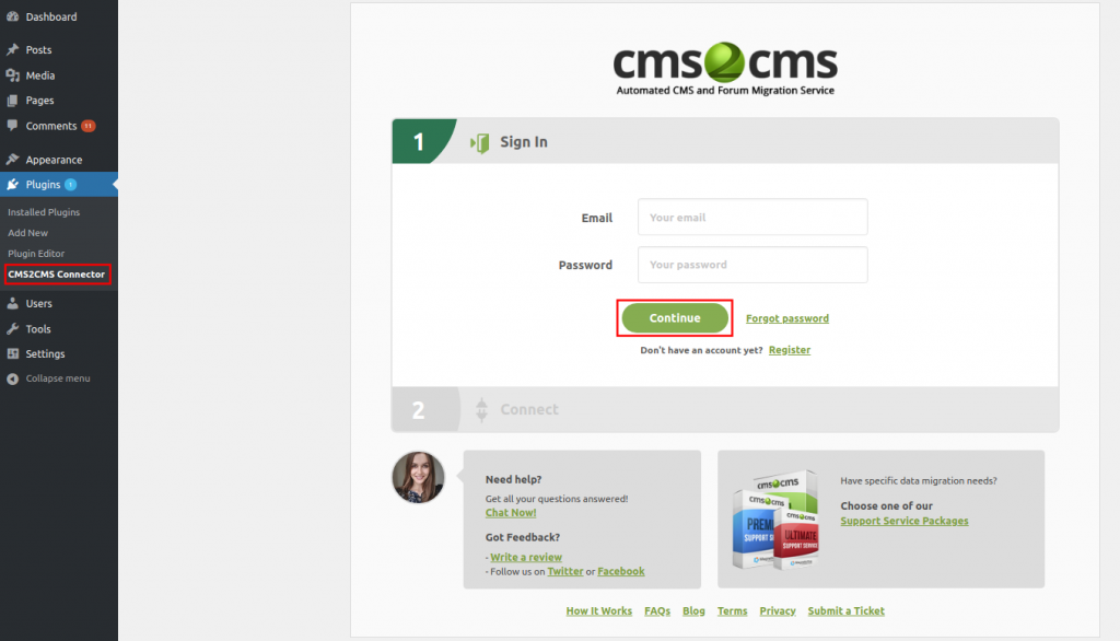 CMS2CMS Connector Plugin